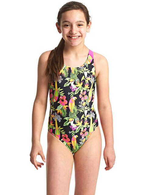 Zoggs Paradise Flyback Swimsuit Girls Multi/Pink